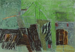 Untitled 42 by Rakesh Kumar, Abstract Drawing, Dry Pastel on Paper, Green color