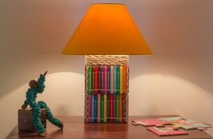 Crayon Lamp by Desi Jugaad, Contemporary Table Lamp, MDF, Brown color