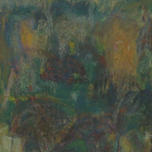 Untitled 10 by Rajnish Kaur, Abstract Painting, Oil Pastel on Paper, Green color