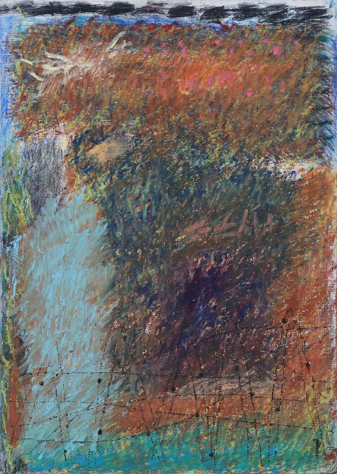 Untitled 15 by Rajnish Kaur, Abstract Painting, Oil Pastel on Paper, Brown color