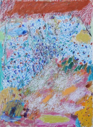 Untitled 16 by Rajnish Kaur, Abstract Painting, Oil Pastel on Paper, Cyan color