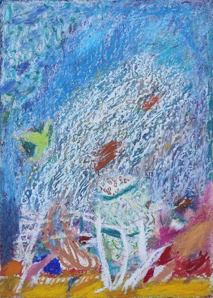 Untitled 18 by Rajnish Kaur, Abstract Painting, Oil Pastel on Paper, Cyan color