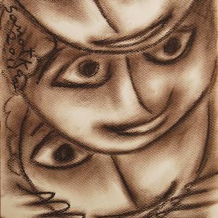 Untitled by Sanat Kar, Illustration Painting, Pastel on Paper, Brown color