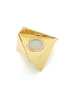 Origami Tealight -Brass by Studio Saswata, Contemporary T-Light and Votive Holder, Brass, Gray color