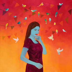 Utsav by Priyanka Waghela, Decorative Painting, Acrylic on Canvas, Red color
