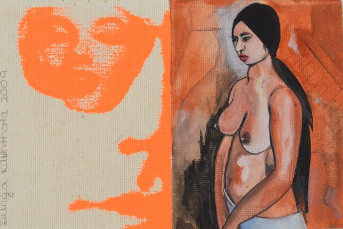 Warhol and the History of Art by Durga Kainthola, Pop Art Painting, Gouache on Paper, Brown color