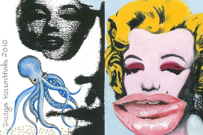 Warhol and the History of Art by Durga Kainthola, Pop Art Painting, Gouache on Paper, Gray color