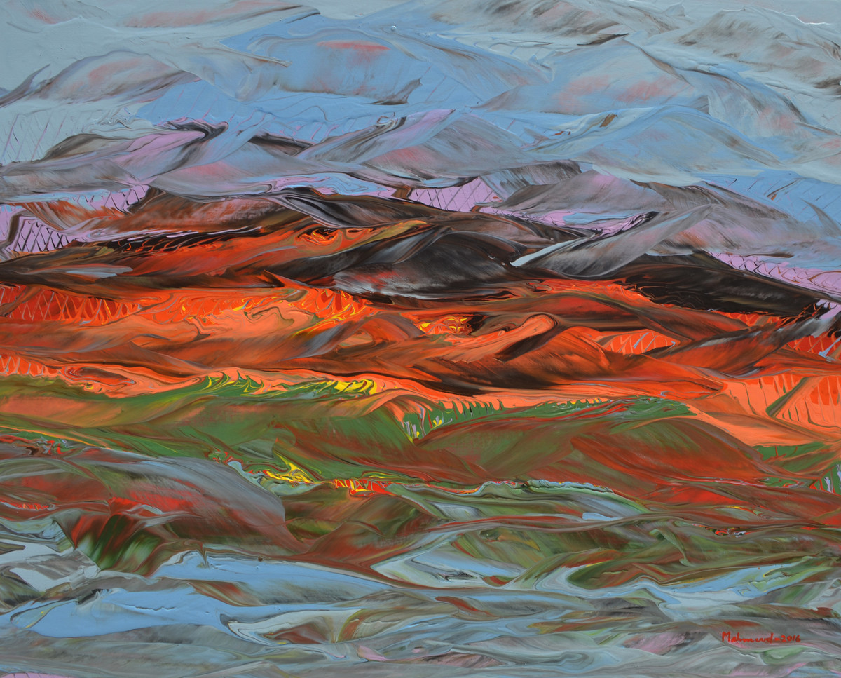 Desert Scape by Mahmood Ahmad, Abstract Painting, Acrylic on Canvas, Brown color
