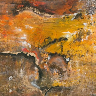 Solar Plexus by Bahaar Dhawan Rohatgi, Abstract Painting, Mixed Media on Canvas, Brown color