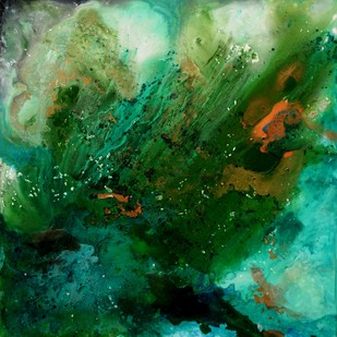 Untitled (Interstellar Series) by Bahaar Dhawan Rohatgi, Abstract Painting, Mixed Media on Canvas, Green color