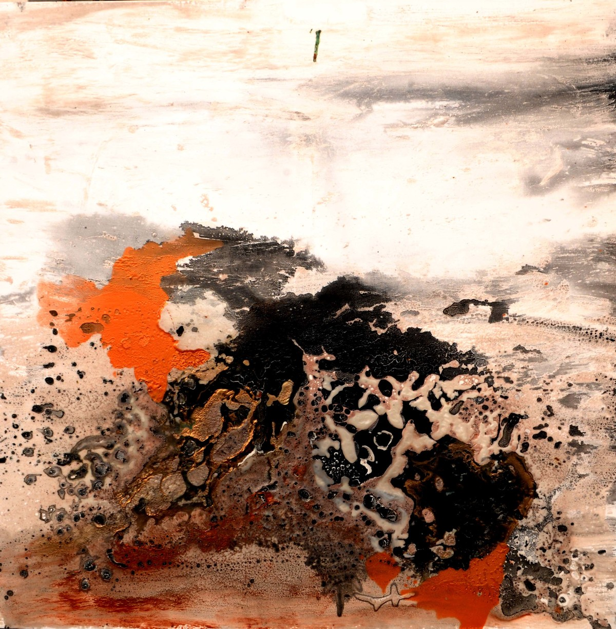 Untitled (Interstellar Series) by Bahaar Dhawan Rohatgi, Abstract Painting, Mixed Media on Canvas, Beige color