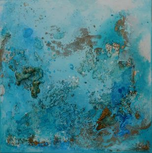 Oxyearth (II) Interstellar series by Bahaar Dhawan Rohatgi, Abstract Painting, Mixed Media on Canvas, Cyan color