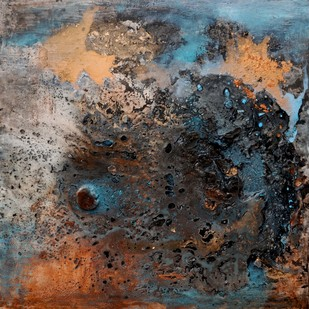 Tidal Whirlpool (Interstellar Series) by Bahaar Dhawan Rohatgi, Abstract Painting, Mixed Media on Canvas, Brown color