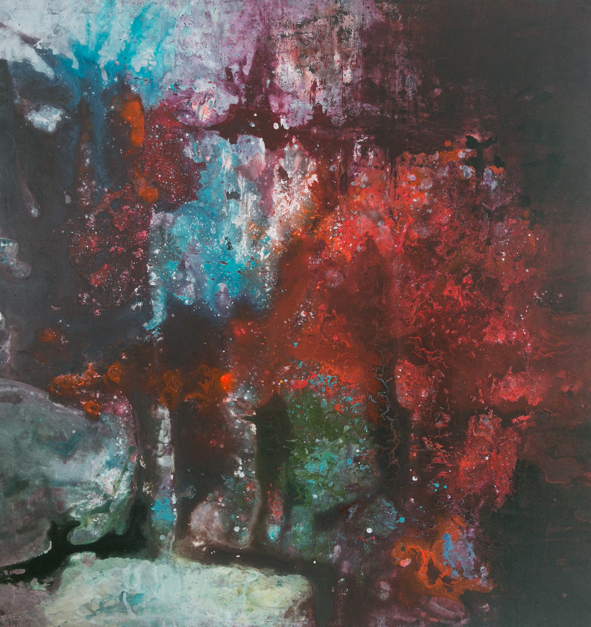 Cosmos (Interstellar Series) by Bahaar Dhawan Rohatgi, Abstract Painting, Mixed Media on Canvas, Brown color