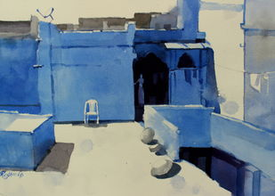 Composing Blues In Jodhpur by Prashant Prabhu, Impressionism Painting, Watercolor on Paper, Blue color