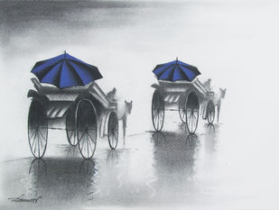 Rhythmic Monsoon Ride by Somnath Bothe, Impressionism Drawing, Charcoal on Paper, Gray color