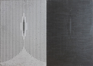 Black Drawing 15 by Parul Gupta, Geometrical Drawing, Oil Pastel on Paper, Gray color