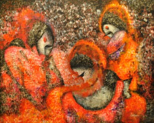 Paprika by Sarang, Impressionism Painting, Acrylic on Canvas, Brown color