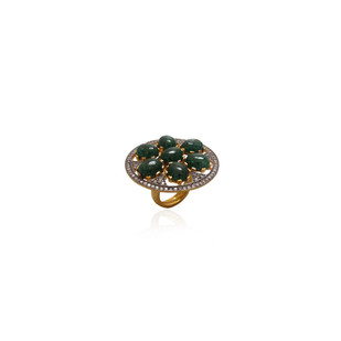 Green Aventurine Cabochon Ring By Symetree