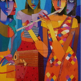 Musicians by Dayanand Kamakar, Decorative Painting, Oil & Acrylic on Canvas, Brown color