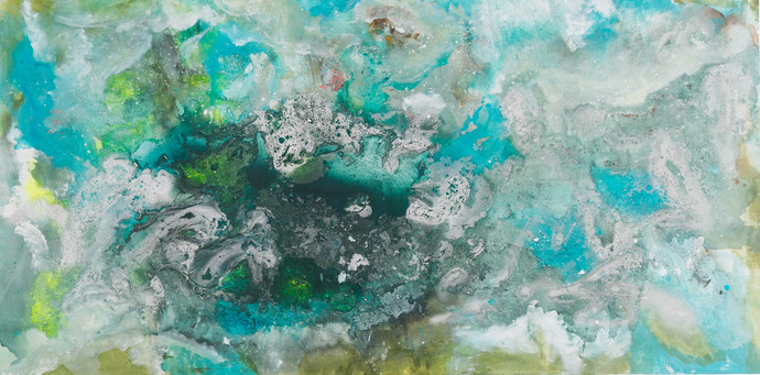 Cosmic Waves by Bahaar Dhawan Rohatgi, Abstract Painting, Acrylic & Ink on Canvas, Cyan color