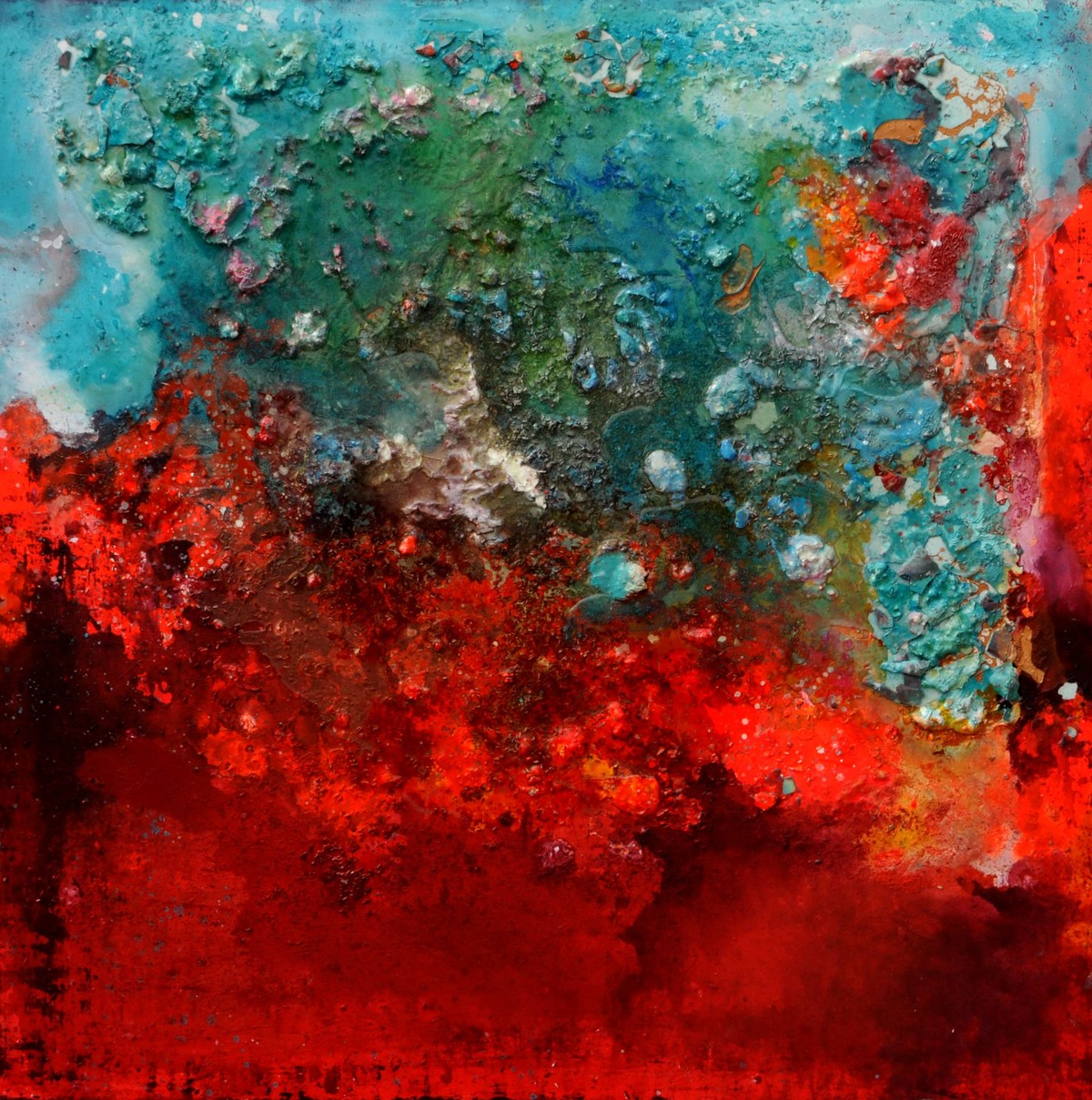 Compassionate Voids by Bahaar Dhawan Rohatgi, Abstract Painting, Mixed Media on Canvas, Red color