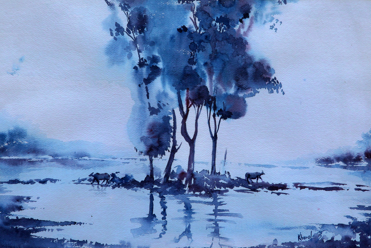 Landscape by Devendra Kharol, Impressionism Painting, Watercolor on Paper, Cyan color