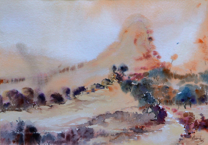 Landscape by Devendra Kharol, Impressionism Painting, Watercolor on Paper, Brown color