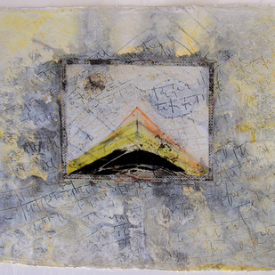 By Gone History by Vinay Sharma, Abstract Painting, Mixed Media on Paper, Gray color