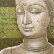 Buddha by Sukanta Das, Decorative Painting, Acrylic on Canvas, Beige color
