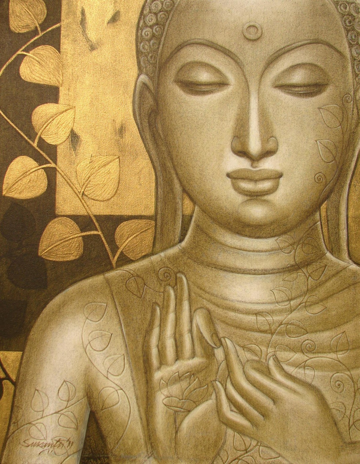 Buddha by Sukanta Das, Decorative Painting, Acrylic on Canvas, Brown color