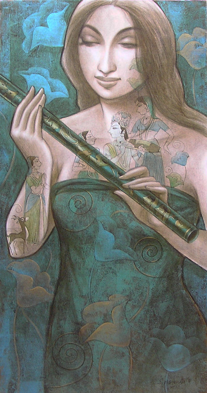 Untitled by Sukanta Das, Decorative Painting, Acrylic on Canvas, Green color
