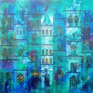 Blue Reflection 775 by Suresh Gulage, Art Deco Painting, Acrylic on Canvas, Cyan color