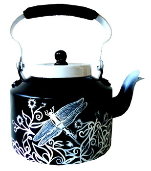 Limited Edition kettle- Black and white dragonfly Serveware By Pyjama Party Studio