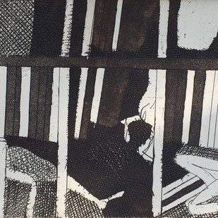 Untitled by K. G. Subramanyan , Illustration Printmaking, Etching on Paper, Gray color