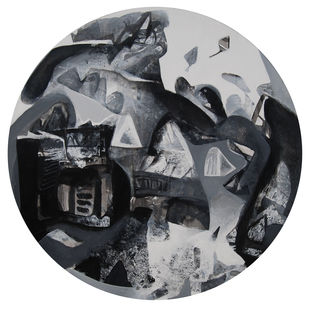Untitled by Tapas Ghosal, Expressionism Painting, Acrylic on Canvas, Gray color