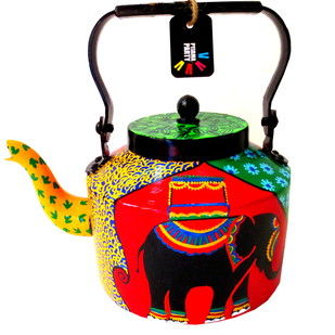 Limited edition hand-painted kettle- Elephant Tales2 Serveware By Pyjama Party Studio