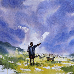 Shepherd by Sunil Linus De, Impressionism Painting, Watercolor on Paper, Cyan color