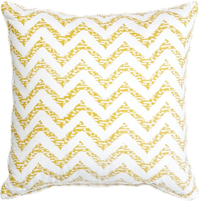 Ikka Dukka Hand Blocked Yellow Cushion Cover Cushion Cover By Ikka Dukka Studio Pvt Ltd