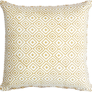 IKKA DUKKA HAND BLOCKED MUSTARD CUSHION COVER by Ikka Dukka Studio Pvt Ltd, Contemporary Cushion Cover