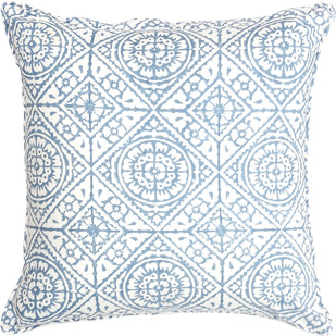 IKKA DUKKA HAND BLOCKED BLUE FLOWER CUSHION COVER by Ikka Dukka Studio Pvt Ltd, Contemporary Cushion Cover