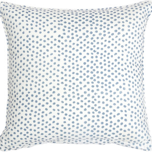 IKKA DUKKA HAND BLOCKED BLUE SPOT CUSHION COVER by Ikka Dukka Studio Pvt Ltd, Contemporary Cushion Cover
