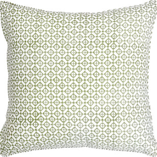 IKKA DUKKA HAND BLOCKED GREEN CUSHION COVER by Ikka Dukka Studio Pvt Ltd, Contemporary Cushion Cover