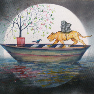 Untitled by Subrat Kumar Behera, Surrealism Painting, Watercolor on Paper, Gray color