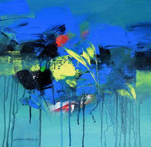 Abstract by SOMANAND M.GADAKARI, Abstract Painting, Acrylic on Canvas, Blue color