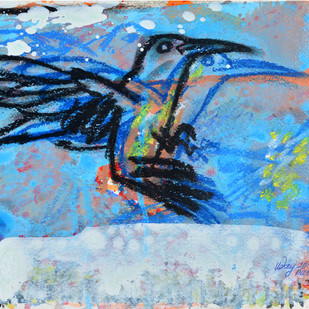 Hummingbird by Uday Mondal, Impressionism Painting, Mixed Media on Paper, Cyan color