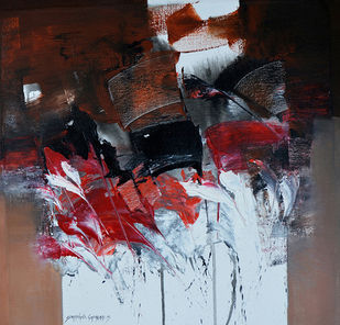 Abstract by SOMANAND M.GADAKARI, Abstract Painting, Acrylic on Canvas, Brown color