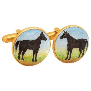 SIGNATURE BLACK BEAUTY CUFFLINKS by Ikka Dukka Studio Pvt Ltd, Contemporary Button/Cufflink