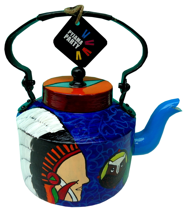 Limited Edition kettle- Red Indian Big chief Green leaf Serveware By Pyjama Party Studio