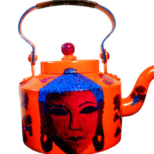 Limited Edition kettle- Shades of Buddha (Tan and Azure blue] Serveware By Pyjama Party Studio